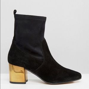 ASOS Kurt Geiger black suede booties gold heel 8